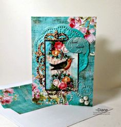 1CardCreator:  I printed the Gecko Galz Floral Symphony paper and Vintage by Me bird image on this 5 x 7 card