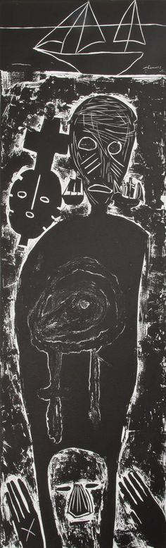 Mimmo Paladino, Atlantico IV (Large Figure with Mask), 10/27 #prints #contemporary #art #ZB #linoleumblock