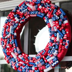 Red, White, and BOOM Independence Day Wreath