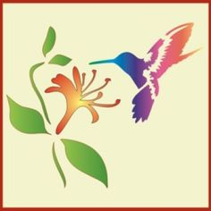 Hummingbird and Honeysuckle Stencil   Use this tropical bird and flower stencil on tote bags, tee shirts & make a mural in your bathroom, bedroom, sunroom   Delightful home decor and crafting stencil from The Artful Stencil! US Shipping in only 5 days. We ship all over the world.