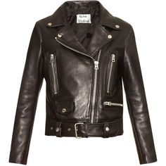 Acne Studios Mock leather biker jacket ($1,600) ❤ liked on Polyvore featuring outerwear, jackets, leather jackets, acne, coats & jackets, black, leather motorcycle jacket, motorcycle jacket, leather moto jackets and cropped cardigan shrug