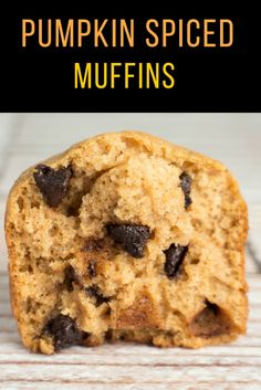 Pumpkin Spiced Chocolate Chip Muffins recipe. Easy to make and bakes in 20 minutes. Makes 1 dozen muffins.