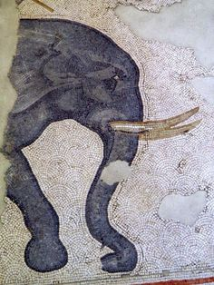 Elephant, detail of the 6th century mosaic floor from the Palatium Magnum (Constantinople's Great Palace), Istanbul.