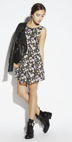 reformation dress. paired with leather jacket