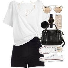 Outfit for summer with a white top and black shorts