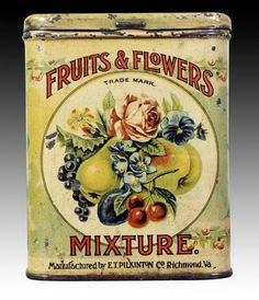 Antique Tins | Pocket Tins Fruits and Flowers Mixture Tin – Antique Tobacco Tins ...