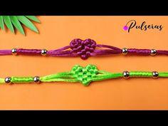 Macrame Knots, Macrame Bracelets, Handmade Bracelets, Rope Crafts, Fun Diy Crafts, Rakhi Design, Jewelry Knots, Sliding Knot, Heart Bracelet