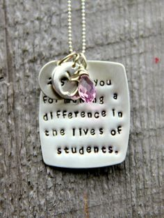 Teacher Retirement Gift Teacher Necklace by whiteliliedesigns, $65.00