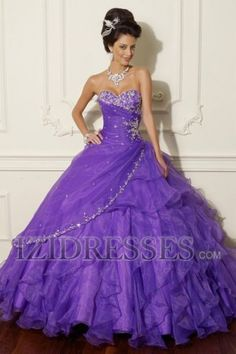 Ball Gown Sweetheart Strapless Organza Quinceanera Dress - IZIDRESSES.COM