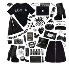 """""""mission monochrome / all-black outfit"""" by soft-bites ❤ liked on Polyvore featuring Acne Studios, Boohoo, WALL, MM6 Maison Margiela, H&M, CO, Grown Alchemist, Nintendo, Forever 21 and Maison Margiela"""