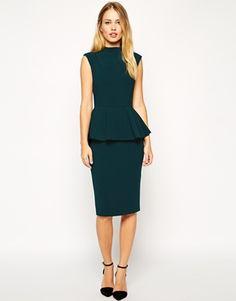 e5db726ffdae ASOS Pencil Dress with Peplum and High Neck Xmas Dresses