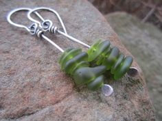 Long Green Sea Glass and Sterling Silver Earrings