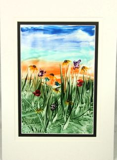 One Day Sale - Painting - Encaustic Art (Wax) Meadow £9.00