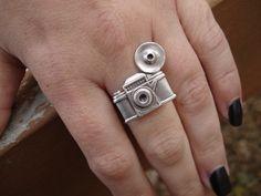 Camera Ring Silver Photographer Statement Ring by IrinSkye. $12.00, via Etsy.