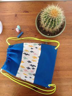 sac à dos enfant cactus bretelles jaune fluo