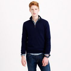 Our cotton-cashmere half-zip packs a one-two punch: Combining the ease of cotton with the warmth of cashmere, this extra-chunky knit sweater is perpetually pulled together and seriously comfortable. <ul><li>Slim fit, cut more narrowly through the body and sleeves.</li><li>Cotton/cashmere.</li><li>Mockneck.</li><li>Zipper with leather pull-tab.</li><li>Dry clean.</li><li>Import.</li><li>Online only.</li></ul>