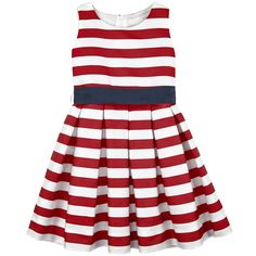 Flower-shaped striped polyester dress - Red and white