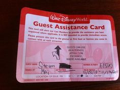 The Guest Assistance Card at Walt Disney World theme parks - no discussion needed at ride entrances.