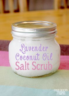 Homemade Lavender Coconut Oil Salt Scrub! 2 cups coconut oil (I used Tropical Traditions Organic Virgin Coconut Oil)  1 cup Epsom salt  20 drops Lavender essential oil  Add coconut oil, epsom salt, and essential oil to a small bowl and mix with a spoon until well combined. Store in a container with a tight-fitting lid until ready to use.