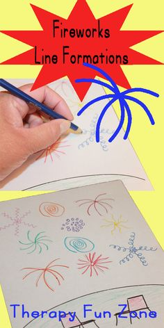 Fireworks Coloring to Practice Writing Lines - Therapy Fun Zone Holiday Activities, Craft Activities For Kids, Therapy Activities, Writing Activities, Sensory Activities, Therapy Ideas, Writing Lines, Pre Writing, Writing Skills