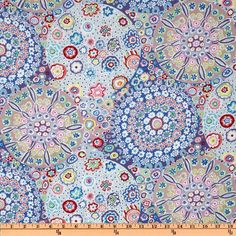 Kaffe Fassett Millefiore Pastel from @fabricdotcom  Designed by Kaffe Fassett, the color palette includes pastel colors of blue, white, orange, mauve, magenta and pink. Kaffe Fassett is known for his bold use of colors. This is perfect for an exciting quilt or quilting project.