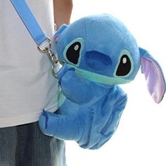 "Disney Stitch Set Of 2. Soft Plush Crossbody/Shoulder Mini Bag with Small Pocket + Stitch Watch For kids. H 9"". Limited Edition."
