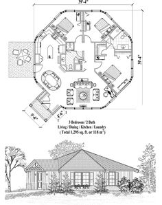 Online House Plan: 1295 sq. ft., 3 Bedrooms, 2 Baths, Patio Collection (PT-0523) by Topsider Homes.