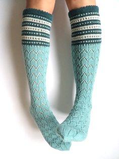 Boot socks. Knee high socks. Leg warmers. Mint by GrietaKnits