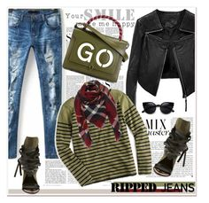 """""""Ripped Jeans"""" by spenderellastyle ❤ liked on Polyvore featuring Vanity Fair, Ivy Kirzhner, Libertine, Linea Pelle, J.Crew, Anya Hindmarch and rippedjeans"""