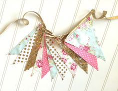 Spring Floral Pennant Fabric Banner Bunting Party by pearlandjane