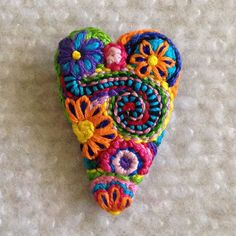 Freeform embroidery heart brooch  Brooch #114 by Lucismiles on Etsy