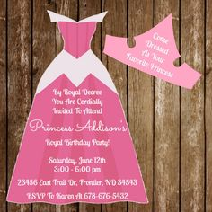Sleeping Beauty Aurora Disney Princess Birthday Dress Invitation Download + Cutout by jzoet on Etsy