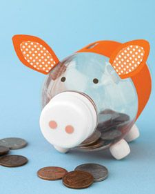 Earth Day Project | Piggy Bank  Make a fun bank with your kids, this teaches them to reuse materials and to save money. Supplies: Plastic Container, Paint/Colored Tape, Craft Paper, Thread Spools or Buttons for legs, Pipe-Cleaner for tail *Parents help kids cut slot at the top with a knife and hold in back for tail.