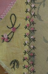 """double feather stitch, then added detached chain stitch """"leaves"""" and cast on flower buds. roses.http://pinyoncreek.blogspot.com/search?updated-max=2007-10-25T09:08:00-07:00"""