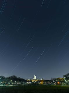 Star trails over the Capitol Building in Washington, DC.