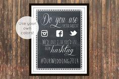 Social Media Hashtag Sign for rustic wedding, elegant wedding, baby shower, wedding shower sign. Twitter, instagram, Facebook hashtag on Etsy, $7.00