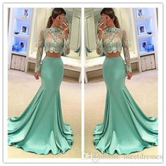 2017 Hot Style Long Sexy Two Pieces Prom Dress with Long Sleeves Prom Dress Lace Bodice Evening Gowns Long Sleeves Prom Dresses Lace Bodice Prom Dress Two Pieces Evening Gowns Online with 217.14/Piece on Meetdresses's Store | DHgate.com