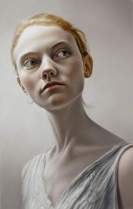 Untitled - Mary Jane Ansell, oil on panel contemporary artist blond female head large eyes dcolletage long neck woman face portrait painting. Such an eerie but beautiful painting L'art Du Portrait, Portrait Paintings, Oil Paintings, National Portrait Gallery, Figure Painting, Face Art, Figurative Art, Amazing Art, Mary Janes