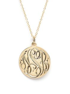 engraved monogram medallion necklace