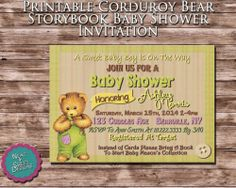 Printable Corduroy Bear Baby Shower Invitation Storybook Baby Shower Invite | eBay