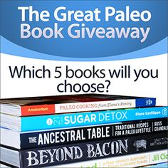 Ready to have the best, coolest, most awesome Paleo library? Enter now to win 5 Paleo books (not e-books!) of your choosing! (Based on feedback from you all, I've learned you like physical books way more than digital books!) In addition, I'll send you our newsletter which includes lots of tips to staying Paleo plus delicious Paleo recipes.  I send 1 – 3 emails per week and you're free to unsubscribe at any time. (Note: If you live outside the United States, in lieu of the prize I will send…