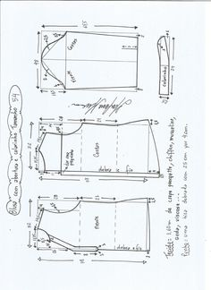 //// Esquema de modelagem de blusa com abertura e meio colarinho tamanho Dress Sewing Patterns, Blouse Patterns, Sewing Patterns Free, Clothing Patterns, Pattern Cutting, Pattern Making, Sewing Blouses, Pattern Drafting, Fashion Sewing