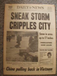 "Historic Newspaper Headlines | New York Daily News , Presidents Day Storm Feb. 1979. Headline ""SNEAK ..."