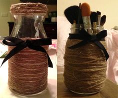 Amazing DIY Projects For Teens | twine-wrapped-jars-diy-project5 ... I seriously need to make this!!! My makeup is ALWAYS scattered!!!