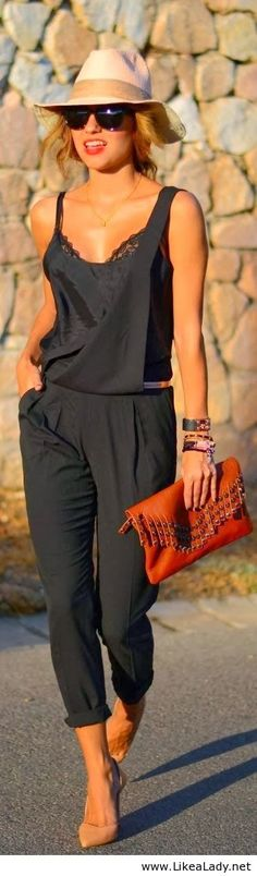 Black light and cozy blouse and loose pants with cowboy hat