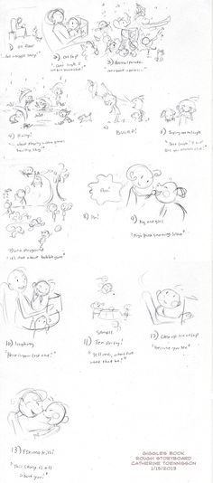 "rough storyboard for ""Not a Giggle Story"" by Elsa Takaoka illustrator Catherine Toennisson"