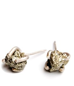 Little Pyrite Prong Earrings    I think I would like them much better if they weren't so gold!