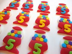 Fondant Cupcake Toppers - Gumball Machines