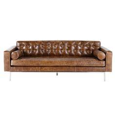 Gestepptes 3-Sitzer-Sofa aus Leder, braun Mikado