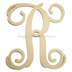 "Unfinished Wooden Single Monogram Uppercase ""R"" - Vine Font"